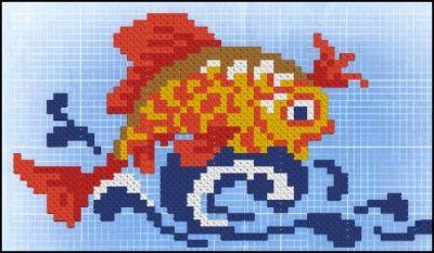 схема вышивки крестиком золотая рыбка